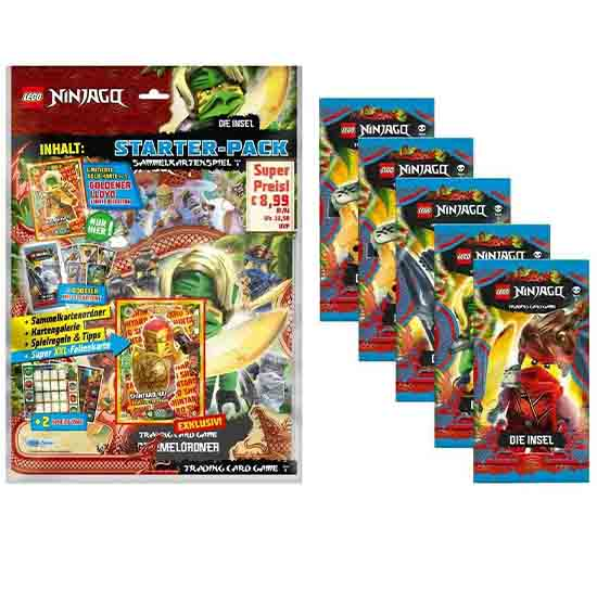 "Lego Ninjago Serie 6 ""Die Insel"" Trading Card Game Starter + 5 Booster"