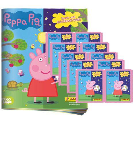 Panini Peppa Pig Spiele mit Gegensätzen Sticker - 1x Album + 10x Tüten
