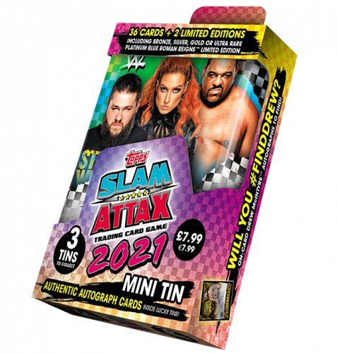 WWE Slam Attax 2021 Mini Sammeldose Grün & Blau Dose