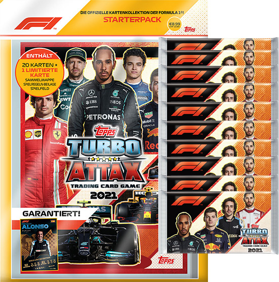 Topps Formula 1 Turbo Attax 2021 Trading Cards - 1x Starterpack + 10x Booster