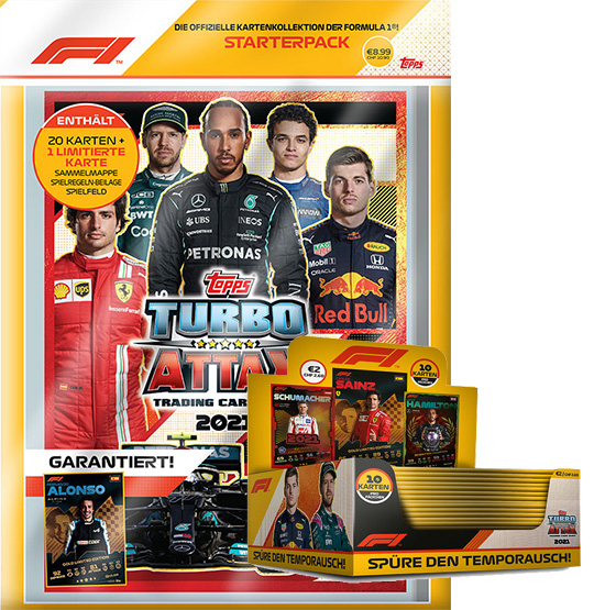 Topps Formula 1 Turbo Attax 2021 Trading Cards - 1x Starterpack + 1x Display je 24 Booster