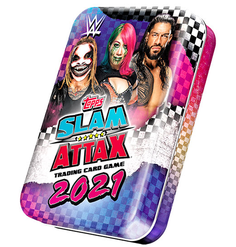 WWE Slam Attax 2021 Mini Sammeldose Blau & Pink Dose