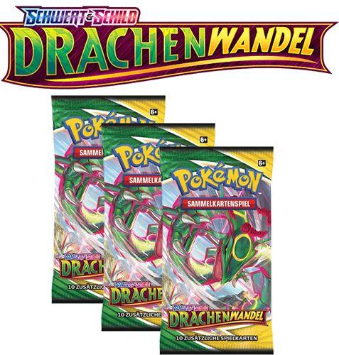 Pokémon Schwert und Schild Drachenwandel 3x Booster