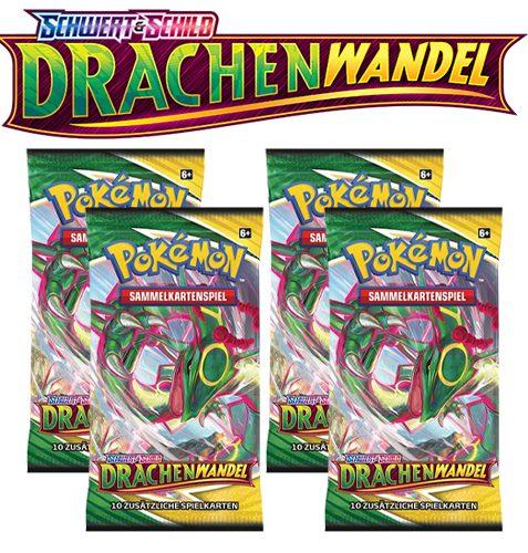 Pokémon Schwert und Schild Drachenwandel 4x Booster