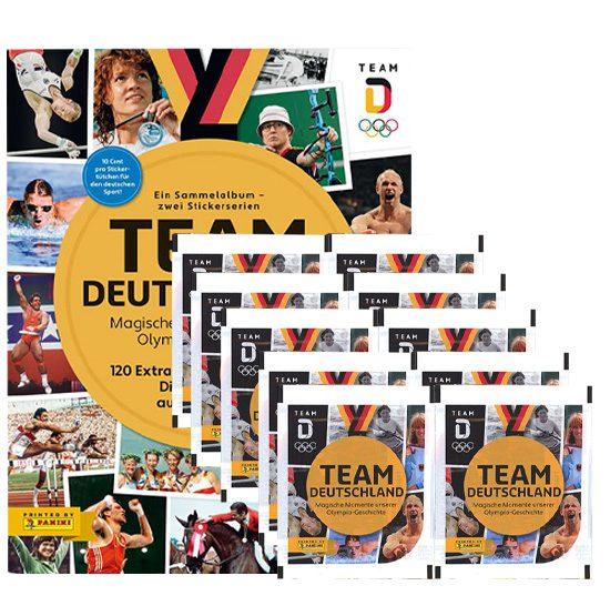 Panini Team Deutschland 2021 Sticker - 1x Sammelalbum + 10x Stickertüten