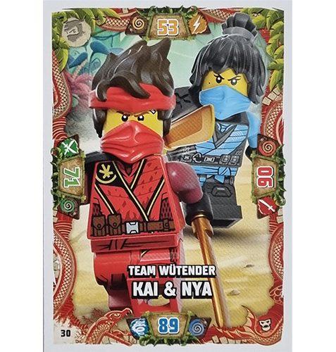 Lego Ninjago Serie 6 NEXT LEVEL Trading Cards Nr 030 Team Wütender Kai und Nya
