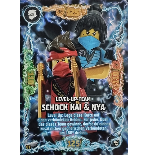 Lego Ninjago Serie 6 NEXT LEVEL Trading Cards Nr 081 Level Up Team Schock Kai und Nya