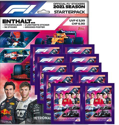 Topps Formula 1 Sticker 2021 Starterpack und 10 Tüten