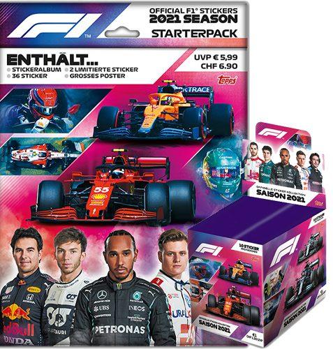 Topps Formula 1 Sticker 2021 Starterpack und Display