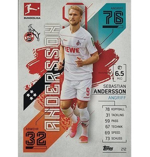 Topps Match Attax Bundesliga 2021/22 Nr 212 Sebastian Andersson