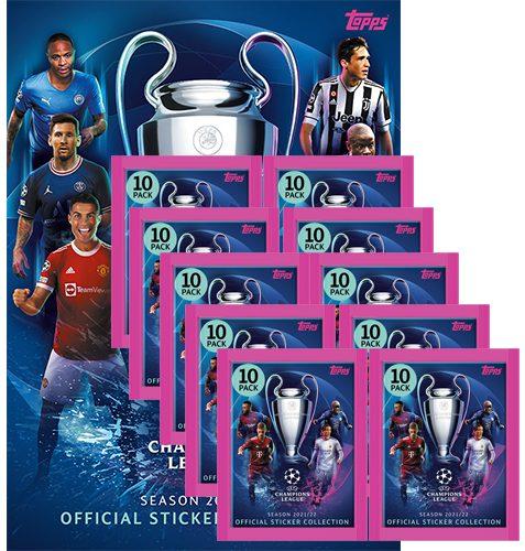 Topps Champions League Sticker 2021/2022 Album + 10x Tüten