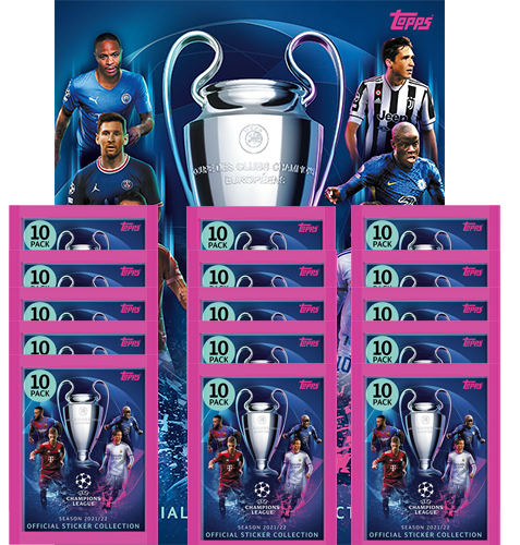 Topps Champions League Sticker 2021/2022 Album + 15x Tüten