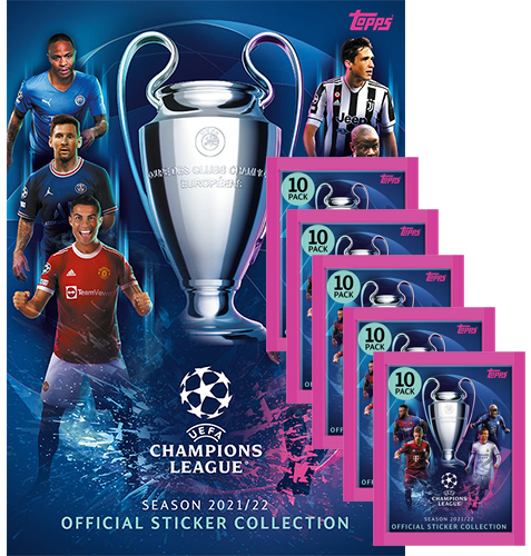 Topps Champions League Sticker 2021/2022 Album + 5 Tüten